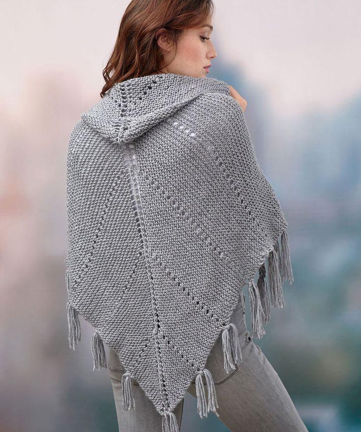 Free Knitting Pattern for a Hoodie Shawl, easy shawl knitting ...