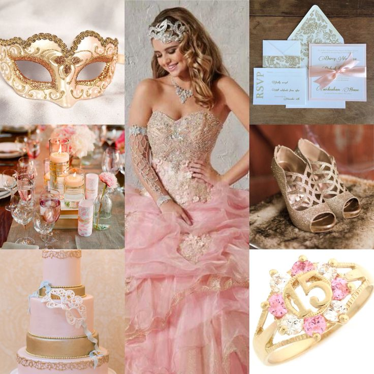 Pink and gold mascarade quinceanera theme