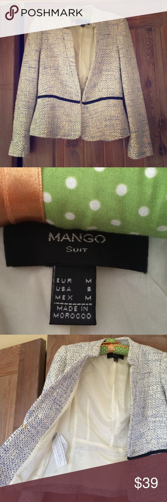 Mango Suit Blazer Blue and white Mango Blazer with deep blue ribbon detailing.   Worn once, great condition!  Bought in Austria Mango Jackets & Coats Blazers
