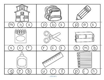***FREE*** 2 printables with 18 pictures in b/w with a SCHOOL TIME theme. Stamp or color the correct beginning or initial sound. Go over the vocabulary before the child begins, to be sure the pictures are understood.