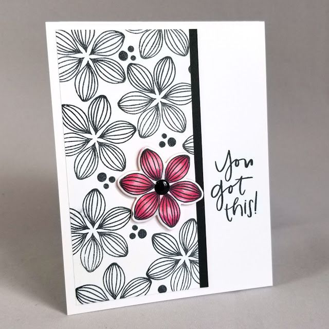 Congratulations to this week's Splitcoaststampers' Featured Stamper: (aka ruby-heartedmom) I chose this card as my inspiration: I focused on:-pink flower-stamped repeated background I changed:-layout