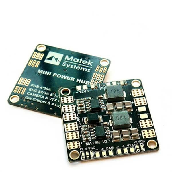 Matek MiniPower HubPower Distribution Board With BEC 5V And 12V For FPV Multicopter The Mini POWER HUB has been engineered to provide the highest possible performance and reliability in a 36*36mm & 4 layers PCB. The HUB distributes power from a battery pack to 4 ESCs,...