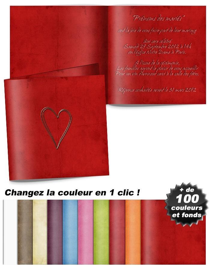 Modèle de faire-part mariage chic et traditionnel : Cœur argenté posé sur fond rouge