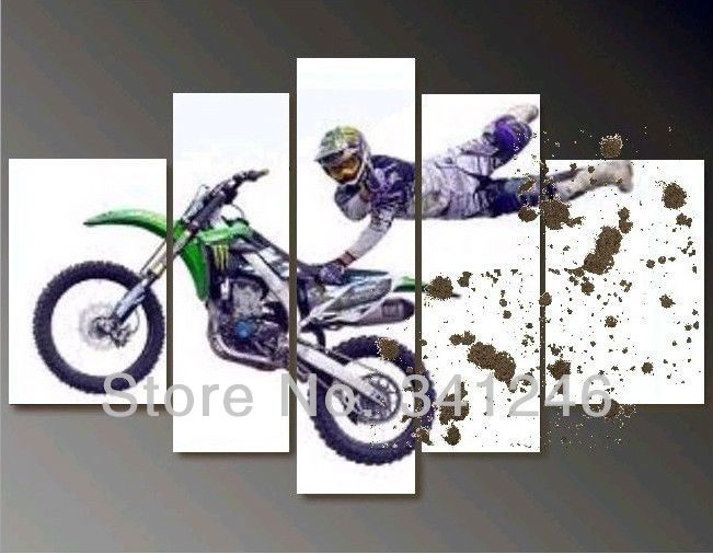 Wholesale Hand-painted Hi-Q modern wall art home decorative abstract oil painting on canvas Mad Skills Motocross 5pcs/set framed US $57.00