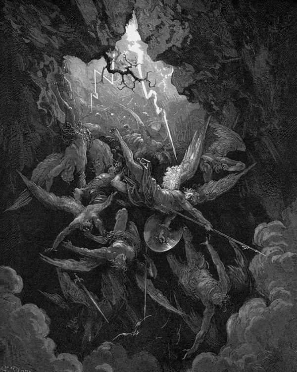 """Angels""...by Paul Gustave Doré (b. 1832 Jan6 - d. 1888 Jan23, d. 56) French Romanticism artist / Illustrator / sculptor / engraver (mostly wood  steel)."