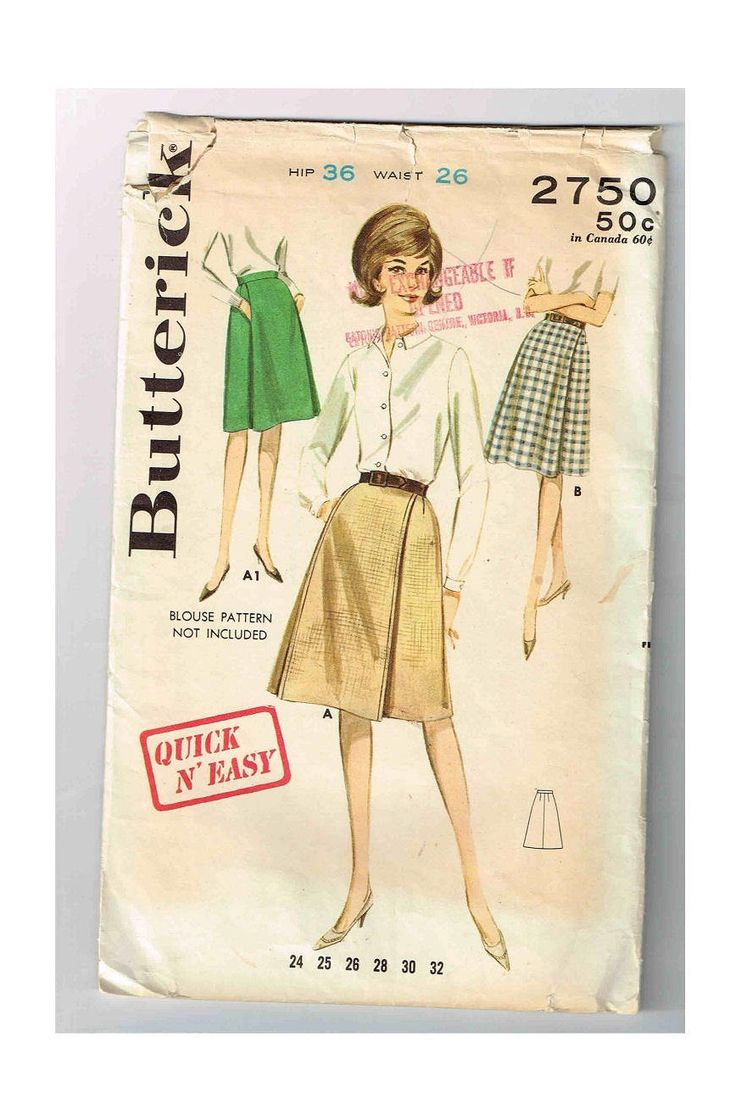 "Vintage 1960's A- Line Skirt Butterick #2750, Waist 26"" (66cm), Hip 36"" (91cm), Panel Pleated, Pockets Under Pleat, Quick N' Easy Skirt by TheShoppingMoll on Etsy"