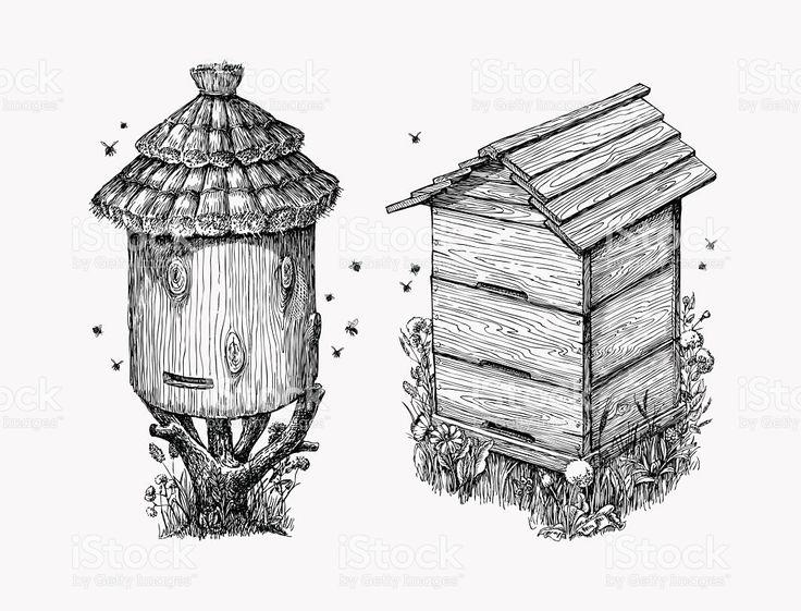 Wooden hives. Hand drawn sketch beekeeping, honey, bees. Vector illustration royalty-free stock vector art