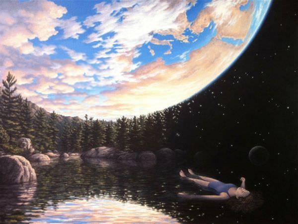 Reproduction de Gonsalves, The phenomenon of floating (Le phénomène de flotter). Tableau peint à la main dans nos ateliers. Peinture à l'huile sur toile.