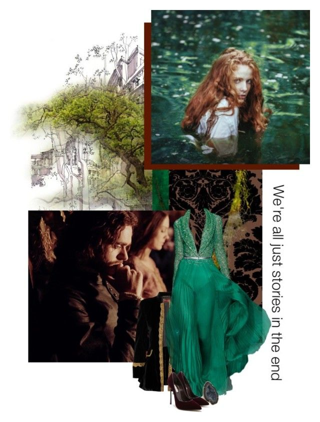 """The traitors wife and the kings brother"" by redheadlass ❤ liked on Polyvore featuring Timorous Beasties, Yves Saint Laurent, Kimberly McDonald, Casadei, sketch, tree and redhead"