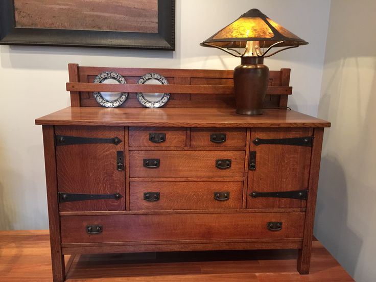 Leopold And John George Stickley: Sideboard, Ca. Dirk Van Erp: Lamp Ca  1910. Craftsman Furniture ...