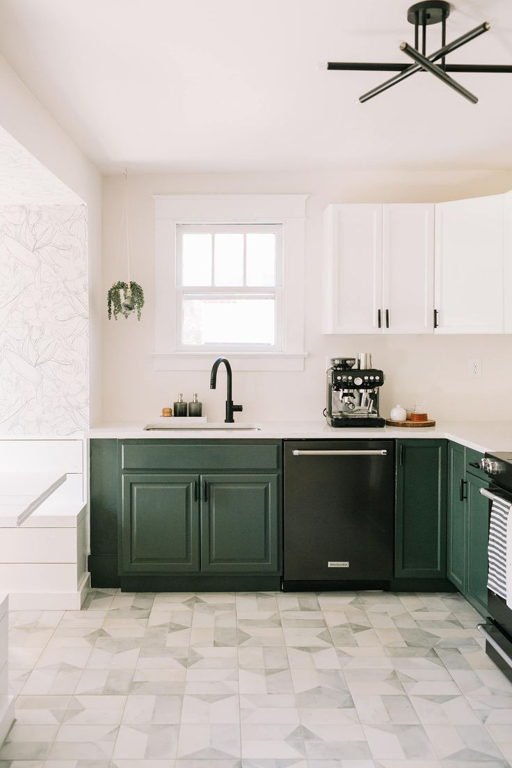 Kitchen Remodel - Love the countertops and the green lower cabinets.