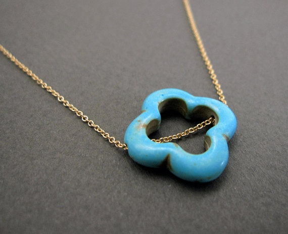 A turquoise necklace AND a clover. Perfect.