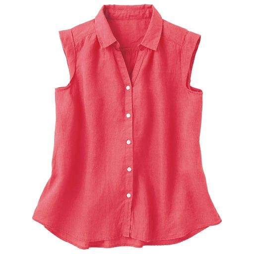 フレンチリネンノースリーブシャツ 通販- セシール(cecile)