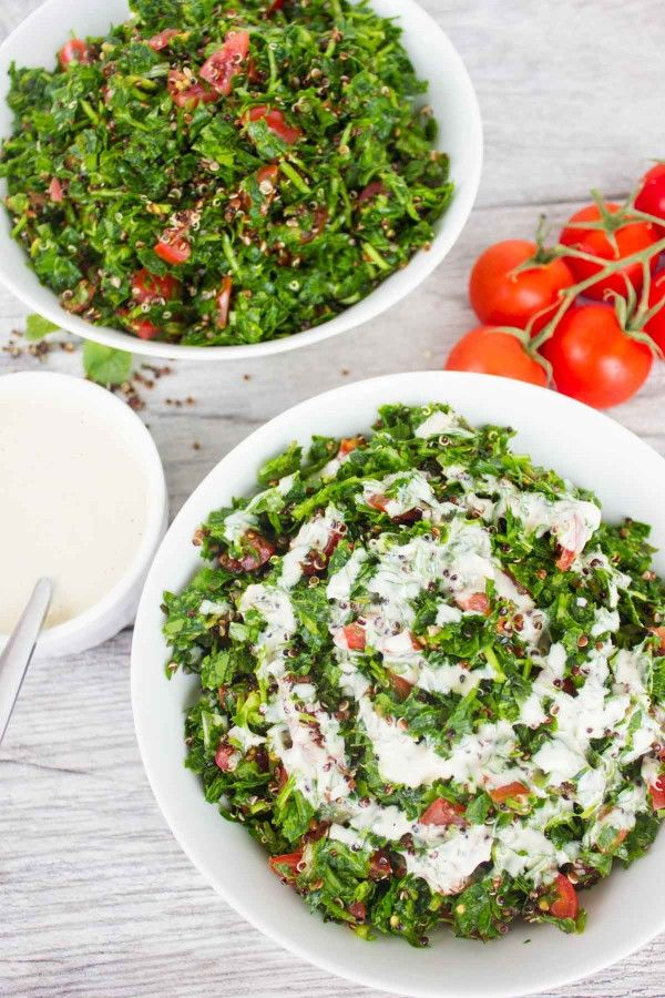 Speedy Quinoa Tabouleh WIth Tahini Dressing