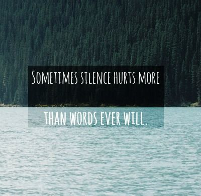 Sometimes silence hurts more, than words ever... | via Tumblr