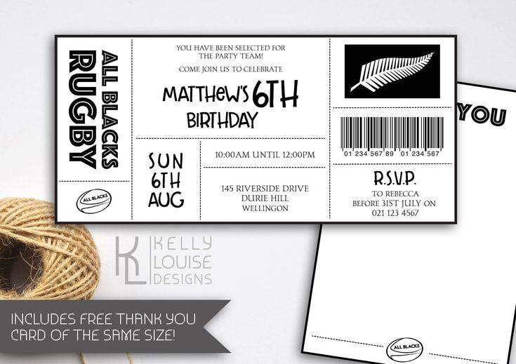All Blacks Birthday Invitation | Rugby Birthday Party | All Blacks Rugby Party | All Blacks | Rugby Ticket Invitation | NZ Rugby (165) by kellylouisedesigns on Etsy