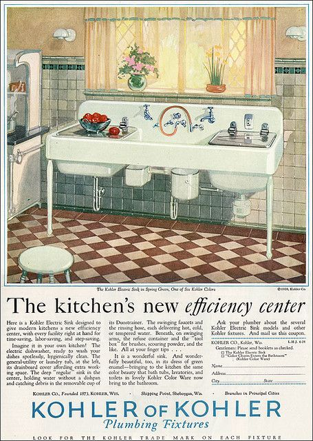 1928 kohler kitchen deluxe kitchen sink with every possible convenience - American Kitchen Sink
