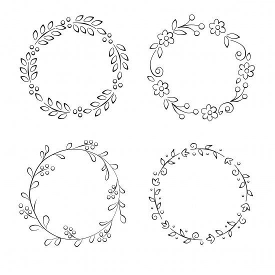 Spring Wreath Coloring Patterns