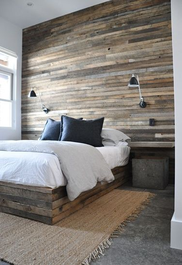 Reclaimed wood wall and bed