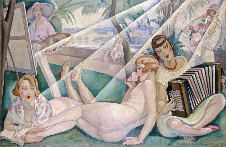 Gerda Wegener, En sommerdag (Einar Wegener ved staffeliet, Lili nøgen, Elna Tegner med akkordeon, forlæggerhustru fru Guyot med bog), 1927.