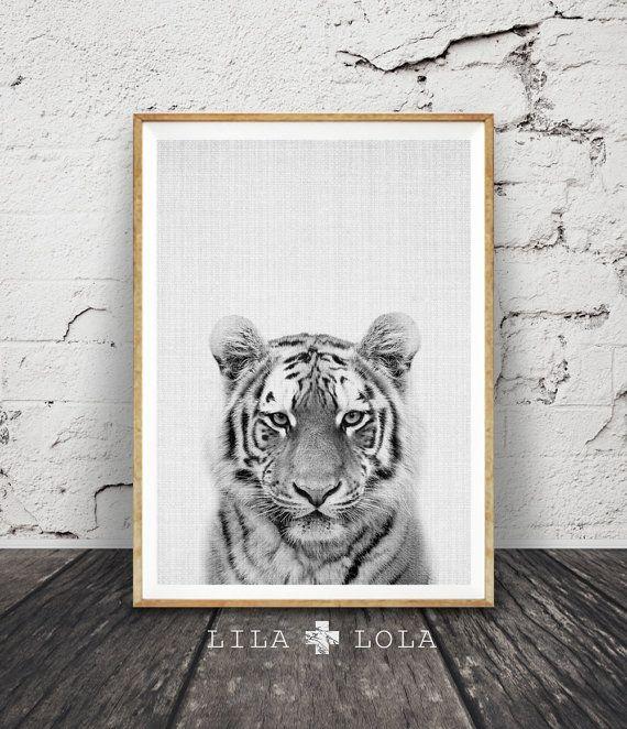 Tijger Print kwekerij dier Wall Art Safari Decor door LILAxLOLA