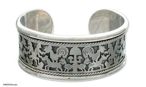 Sterling silver cuff bracelet, 'Feeding the Animals' NOVICA. $304.95. Handmade by Priyo Salim.. A fair trade product. Normally ships directly from Bali & Java within 10 days.