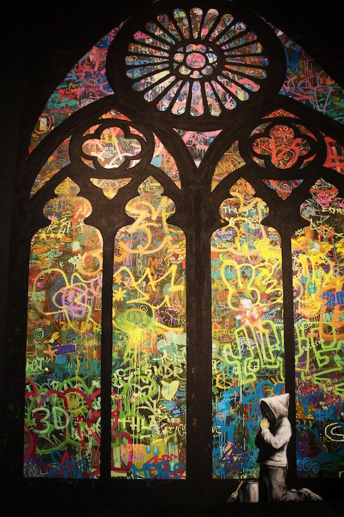 Stained Glass Window Graffiti by Banksy is printed with premium inks for brilliant color and then hand-stretched over museum quality stretcher bars. 60-Day Money Back Guarantee AND Free Return Shipping.