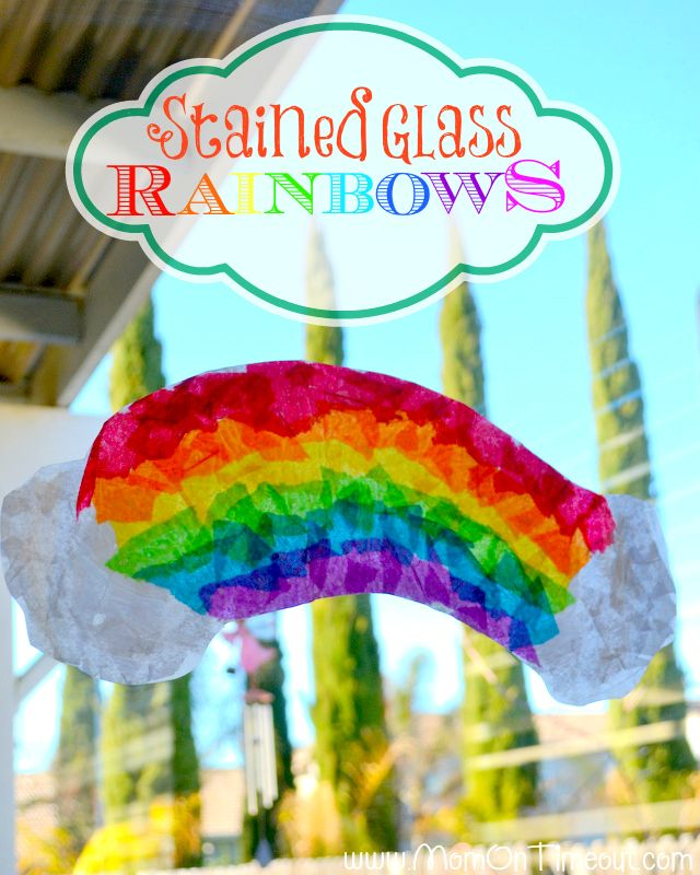 Stained Glass Rainbows Craft Easy to make using materials you probably have on hand! - God Gives Promise: Crafts For Kids, Rainbows Crafts, Rainbow Crafts, Kids Crafts, St. Patrick'S Day, Tissue Paper, Glasses Rainbows, Kid Crafts, Stained Glasses