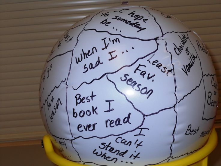 A great icebreaker for groups. Draw random lines on a beach ball and write random phrases within the lines. Toss to a child. The child starts by saying his/her name and then completes the phrase under his/her left (or right) thumb. A fun, non-threatening way for children to introduce themselves to others.