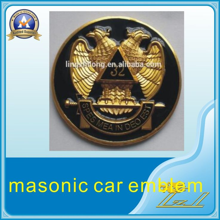 In stock fashion car badge metal number 32 wings up masonic car emblem