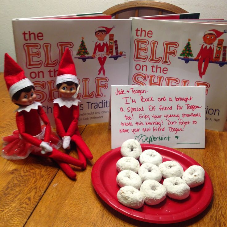 Elf on the Shelf Fun - With 2 Elves.  Easy Elf on the Shelf Ideas.  Elf on the Shelf.  Elf on the Shelf for toddlers.  Last minute Elf on the Shelf.  #elfontheshelf #EOTS