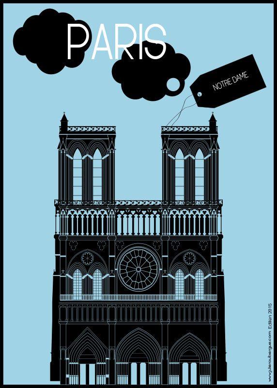 Notre Dame Light Blue - Poster 50x70cm or 30x40cm