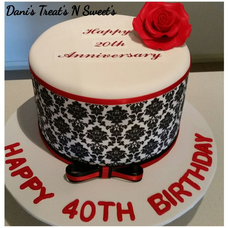 40th birthday damask cake