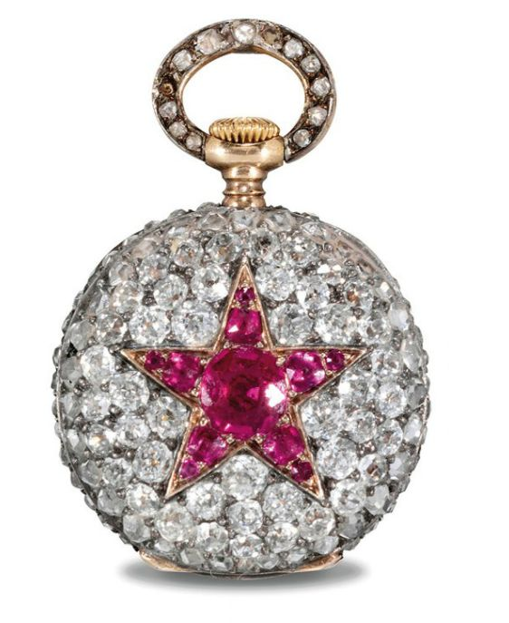 PATEK PHILIPPE. A VERY FINE AND RARE 18K PINK GOLD, DIAMOND AND RUBY OPENFACE KEYLESS LEVER PENDANT WATCH SIGNED PATEK PHILIPPE & CO., GENEVA, MOVEMENT NO. 90'715, MANUFACTURED IN 1892