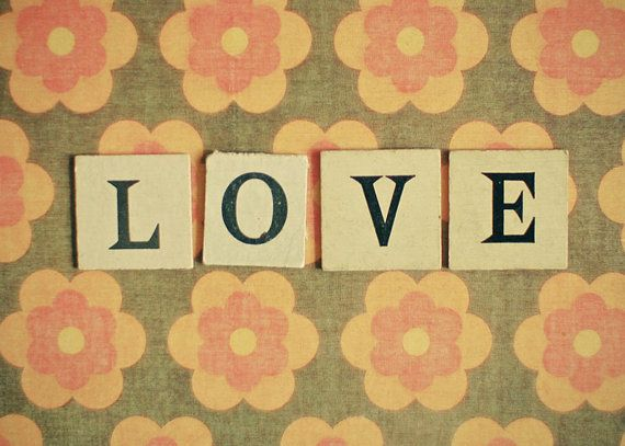 Love No.2 - Typography photograph, romantic art, retro decor, bedroom art, orange and brown, anniversary gift 5x7 Print via Etsy