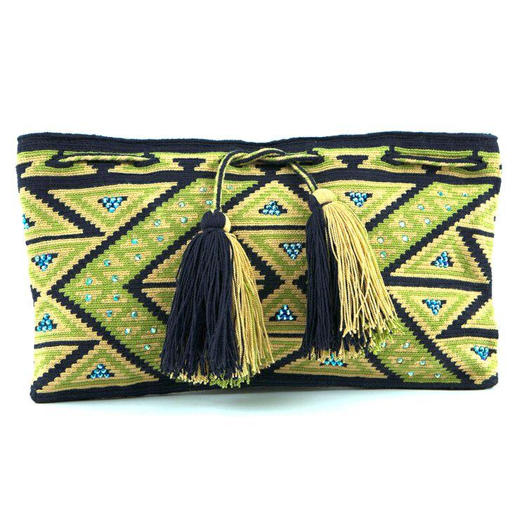 Clutch woven by Wayúu women and embellished with Czech crystal stones. Shop online www.kurubaa.com. International shipping available