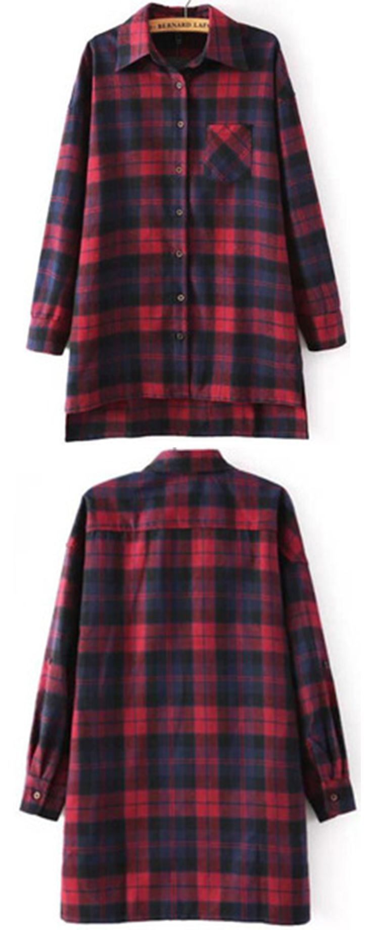 Red Blue Long Sleeve Checker Plaid  Loose Blouse //Romwe women style .More blouses for women ,plaid shirts ,checked shirt or flannel shirts for women cheap here !