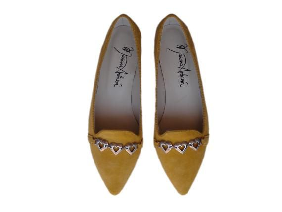 NEW Yellow suede flats with hearts by MarianaArdavinShoes on Etsy, $106.50
