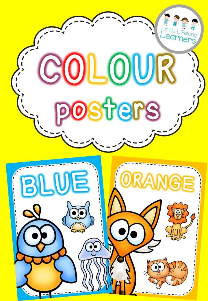Colour posters for the early years classroom and learning environment. Super cute graphics and bright colours!