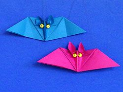 Fledermäuse basteln, Bat Origami Animal Origami Pattern, how to , steb by step, Tutorial, kawaii, adorable, cute papercrafts for kids
