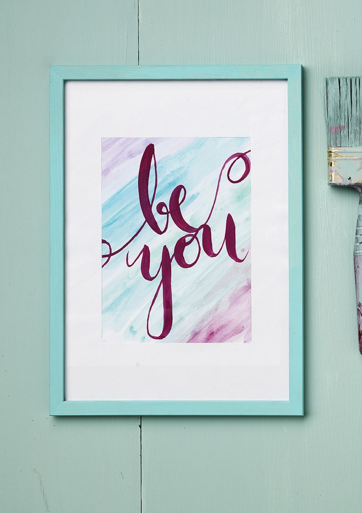 Be you www.pandurohobby.com Wall art by Panduro #decoration #DIY #brushlettering #frame #quotes #tutorial #spectrum #book #artikelnummer #600893 #howto #ink #twinbrush