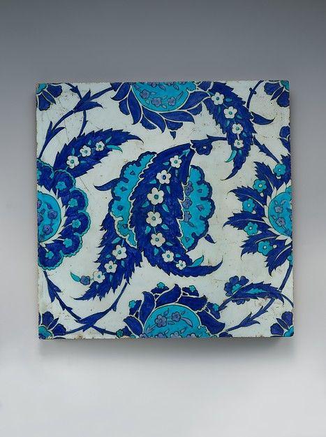 Tile with 'Saz' Leaf Design. Turkey, Iznik. ca. 1545-55. Provenance: Charles Dikran Kelekian, New York]; Richard Ettinghausen, Princeton, NJ (until 1978; gifted to MMA.