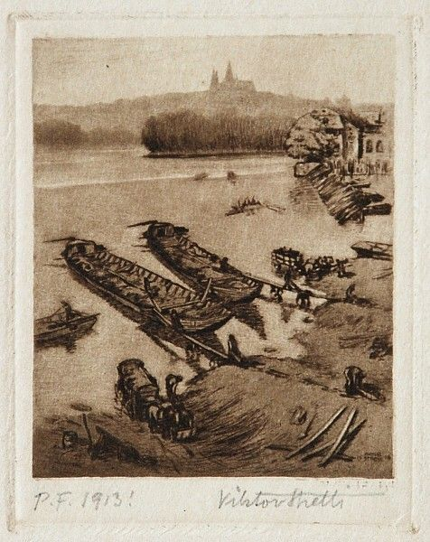 Viktor Stretti - Pohled na Pražský hrad (1912)