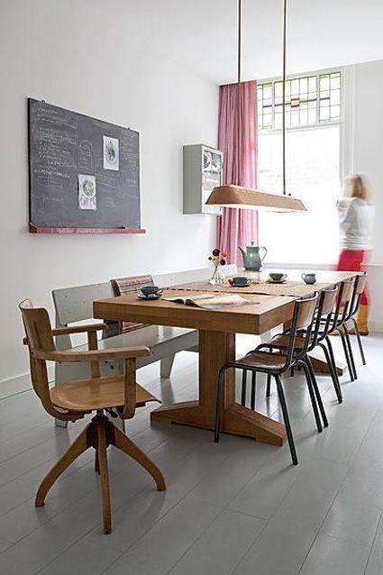 Cute curtains, vintage school board and small cabinet. (Jantine Benschop:  Visje bij de Thee)