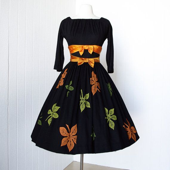 vintage 1950's dress ...autumn beauty original JR. THEME new york black wool and silk screened leaves full skirt pin-up party dress. $170.00, via Etsy.