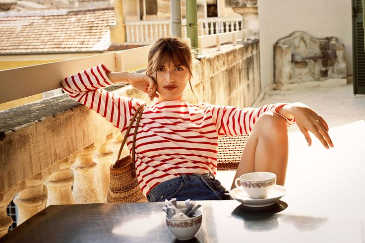 6 Style Lessons from a French It-Girl: Reformation x Jeanne Damas. The epitome of Chic Frenchwoman is this striped shirt and high-waisted bell-bottoms.
