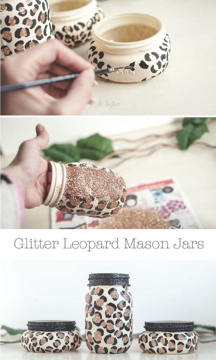 DIY Leopard print mason jars with glitter.