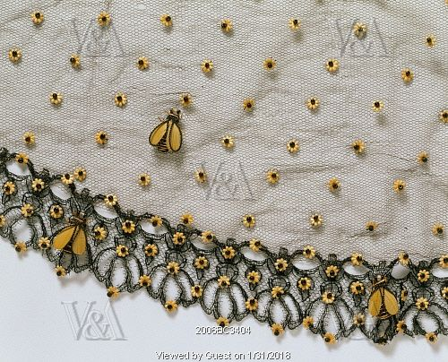 Bonnet veil with bees and flowers. France, mid-19th century