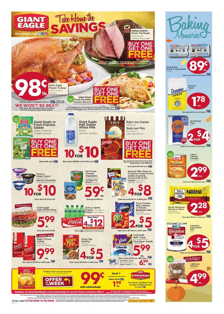 Giant Eagle Weekly Ad November 10 - 16, 2016 - http://www.olcatalog.com/grocery/giant-eagle-weekly-ad.html