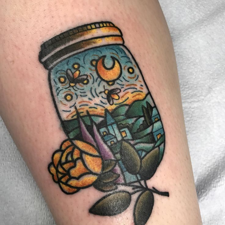 Starry Night in a Mason Jar, done by Cry Babies Electric Tattooing in Bloomington, IN